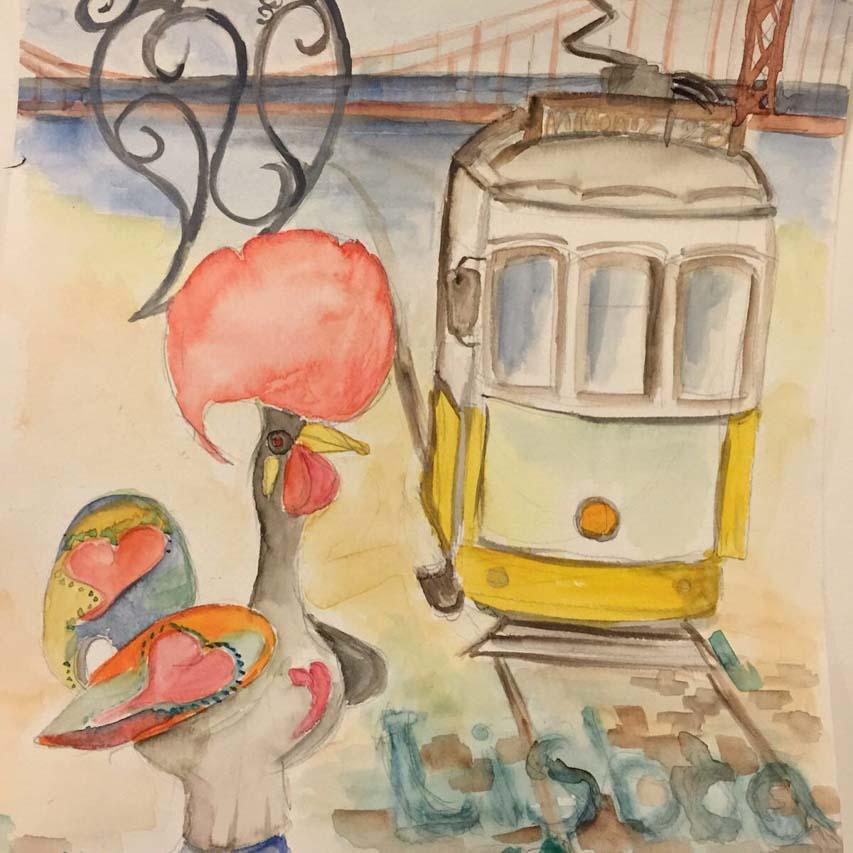 Yoga Städtereise nach Lissabon, Bild von Sylvia Brucker während der Reise hergestellt. Das Gemälde zeigt links den portugiesischen Hahn und rechts die gelbe Electrico, mit Buntstiften angefertigt.