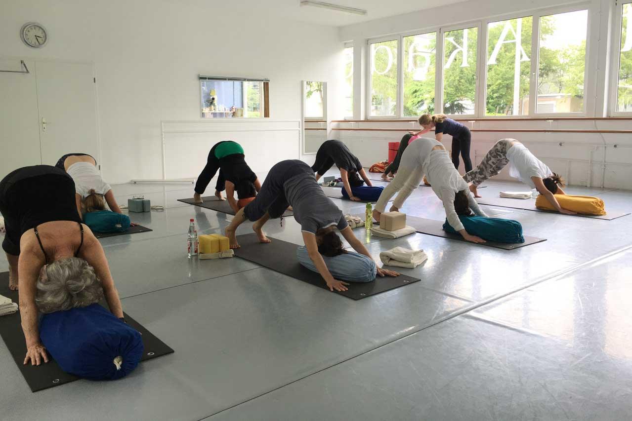 """Im Iyengar Yoga Workshop mit Edith Wittkamp steht hier dei Gruppe in der Yoga Haltung """"Der Hund der nach unten schaut."""" In der indischen Sprache Sanskrit heisst diese Übung Ado Muhka Svanasana."""