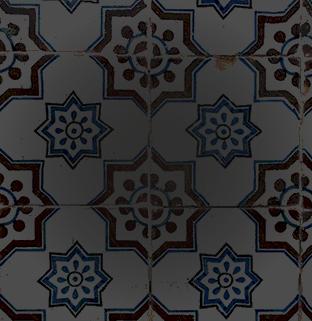 Azulejos, portugiesische Kacheln, in einer runden Form fast wie eine Blume, braune Ränder und blaue innere Muster.